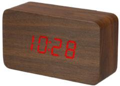 Perel Houten klokje met kalender en temperatuur 12.5 x 7.5 x 4.5 cm