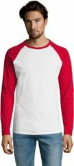 SOLS Heren Funky Contrast T-Shirt met lange mouwen (Wit/rood)