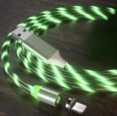 Merkloos / Sans marque Lichtgevende oplaadkabel - Oplaadkabel lichtgevend - iPhone oplader - iPad oplader - Flowing light USB cable - Lightning kabel - 1 meter - Groen