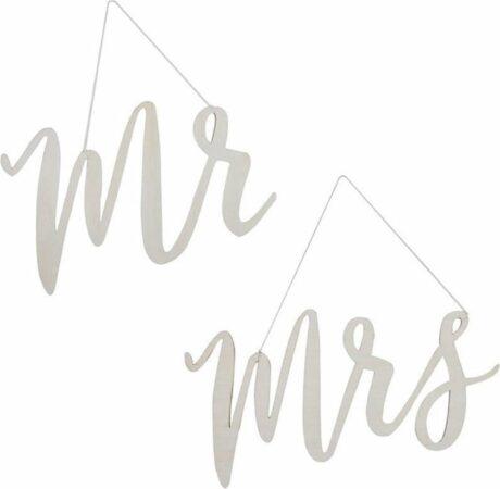 Afbeelding van Zilveren Ginger ray Stoeldecoratie Houten 'Mr & Mrs'