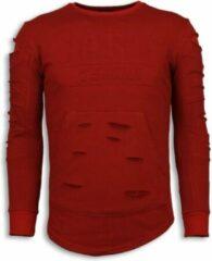 Justing 3D Stamp PARIS Trui - Damaged Sweater - Rood Sweaters Heren Sweater Maat M