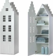 Trapgevel kast Amsterdam. Kast van een Huis. 198/55/55 cm. Wit.
