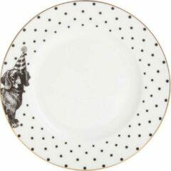 Yvonne Ellen London Monochrome Set van 2 Gebak Bordjes Ø 16 cm - Teckel Print - Bone China Porselein