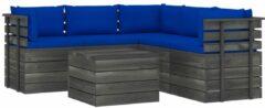 Blauwe VidaXL 6-delige Loungeset met kussens pallet massief grenenhout VDXL 3061909