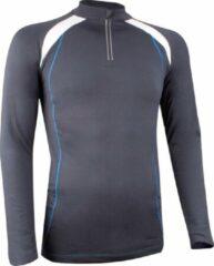 Antraciet-grijze Avento Sportshirt Lange Mouw - Dik Materiaal - Antraciet/Wit/Kobalt - XL