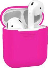 BTH Siliconen Bescherm Hoesje Cover voor Apple AirPods 1 Case Donker Roze