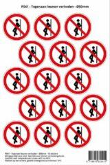 Rode Stickerkoning Pictogram sticker P041 - Tegenaan leunen verboden - Ø 50mm - 15 stickers op 1 vel