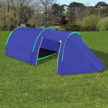 Afbeelding van Marineblauwe Waterbestendige campingtent voor 4 personen marineblauw / groen