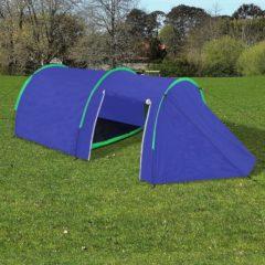 Marineblauwe Waterbestendige campingtent voor 4 personen marineblauw / groen
