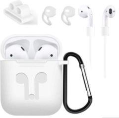 Siliconen beschermhoes cover + anti verlies strap voor Apple Airpods Accessoires set - Case - Set van 4 wit