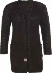 Knit Factory Luna Gebreid Dames Vest - Donkerbruin - 40/42 - Met steekzakken
