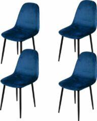 Gebor Set van 4 eetkamerstoelen fluweel – Model Inoui - Modern Ontworpen Stoel – Blauw Velvet – Design – Fluweel - Blauw