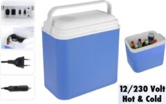Lichtblauwe Excellent Cool Solutions - Draagbare koelbox - met verwarm functie - blauw/wit - 24 Liter - 12V & 230V