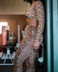 Bruine Legend Sports Dames Sport-Top en Sportlegging Panther L