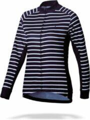 Marineblauwe BBB Cycling BBW-385 - Fietsshirt Omnium - Lange mouwen - Dames - Maat M - navy stripes