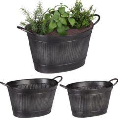 Relaxdays teil zink - set van 3 - metalen teil - plantenbak - bloembak - bloempot - tuin zwart