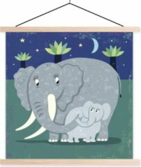 TextilePosters Een illustratie van een grote olifant met een baby olifant schoolplaat platte latten blank 40x40 cm - Foto print op textielposter (wanddecoratie woonkamer/slaapkamer)
