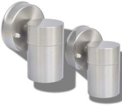 Zilveren DCM VidaXL Wandlamp buiten 2 stuks roestvrij staal op-/neerwaarts