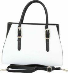 AmbraModa VL502 - Dames handtas, schoudertas gemaakt van stevig gladde leer - Wit + Zwart