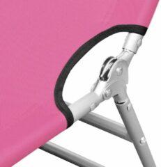 Roze VidaXL Ligbed inklapbaar met hoofdkussen staal magenta