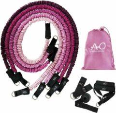 Athletics Official Premium Weerstandsbanden – Set van 5 inclusief handvatten, enkel straps en deuranker - Roze