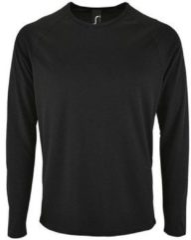 Zwarte T-Shirt Lange Mouw Sols SPORT LSL MEN