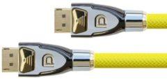 PYTHON Anschlusskabel DisplayPort 1.2 4K2K / UHD - 24K vergoldete Kontakte - OFC - Nylongeflecht gelb - 0,5m - PYTHON Series GC-M0074