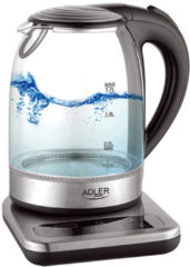 Adler AD 1293 Kettle, Electric, Power 2200W, Capacity 1.7 L, Glass, Grey