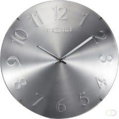 Zilveren NeXtime Elegant Dome - klok - Rond - Glas en kuststof - Stil Uurwerk - Ø 35 cm - Zilver