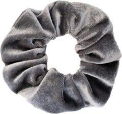 Kraagjeskopen.nl Scrunchie - 1 stuk - velvet - haarwokkel - haarelastiek - grijs - velvet scrunchies