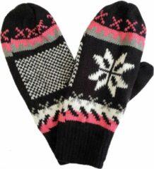 Handy Fleece gevoerde dames wanten met Noors motief sneeuwvlok kleur zwart maat S M