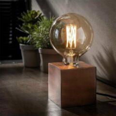 WoonQ +4 Gratis Kussens - Tafellamp Modesto - Koper Antiek