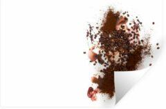 StickerSnake Muursticker Koffieboon - Artistieke koffiebonen en de koffiepoeder - 60x40 cm - zelfklevend plakfolie - herpositioneerbare muur sticker