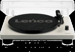 Grijze Lenco LS-50 wit - Platenspeler met ingebouwde speakers en reserve naald