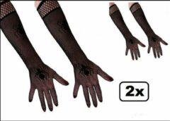 Zwarte Thema party 2x Paar nethandschoenen met spinnen