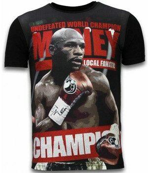 Afbeelding van Zwarte T-shirt Korte Mouw Local Fanatic Money Champion - Digital Rhinestone T-shirt