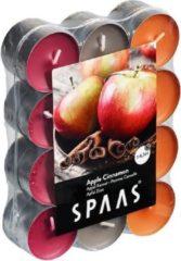 Spaas 24x Geurtheelichtjes Apple Cinnamon 4,5 branduren - Geurkaarsen appel/kaneel geur - Waxinelichtjes