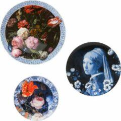 Wandborden mix 2 gouden eeuw set van 3 | Heinen Delfts Blauw | Wandbord | Delfts Blauw bord | Design |