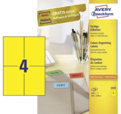 Avery-Zweckform 3459 Etiketten 105 x 480 mm Papier Geel 400 stuk(s) Permanent Universele etiketten 100 vel DIN A4