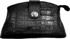 Hidesign lederen clutch 'Cornelia' krokodil zwart