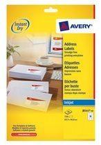 Avery Witte etiketten QuickDry doos van 40 blad, ft 63,5 x 38,1 mm (b x h), 840 stuks, 21 per blad Me...