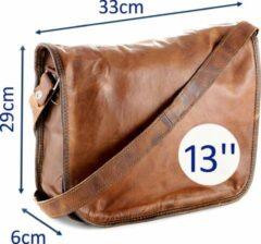 Messengertas 13 inch - Bruin - ECHT LEER - Satcheltas 33 x 29 x 6 cm – Handgemaakt - Aktetas Schoudertas (AR13)