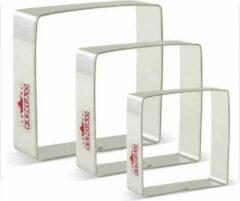 Zilveren Keniao Set van 3 Vierkante uitsteekvormen - Mal voor koekjesdeeg, fondant