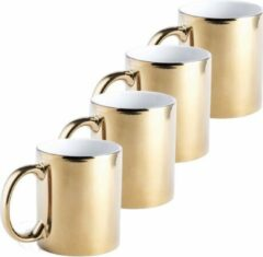 Goudkleurige Merkloos / Sans marque 4x Metallic gouden koffiebekers/theemokken keramisch 350 ml - Servies - Bekers/mokken