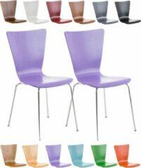 Clp Bezoekersstoel AARON keukenstoel, conferentiestoel - met houten ergonomische zitting - set van 2 - Lila