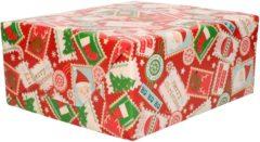 Bellatio Decorations 1x Rollen Kerst Cadeaupapier/inpakpapier Rood Met Postzegels - 200 X 70 Cm