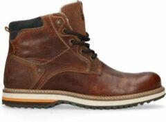 No Stress - Heren - Cognac leren worker boots met imitatiebont - Maat 45