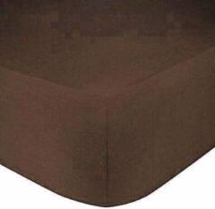 Home bedding Premium hoeslaken-jersey-100% katoen -stretch-Lits-jumeaux-200x220 +40cm-Hoekhoogte -Donker Bruin
