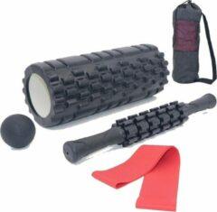 Rode AJ-Sports Foam roller set + GRATIS Weerstandsband - Massage set - Massage stick, Massage bal en Foam roller - Grid Triggerpoint - Compacte draagtas - Fitness + Yoga