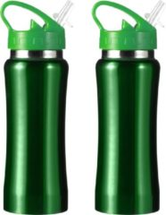 Bellatio Design Set van 2x stuks drinkfles/waterfles 600 ml metallic groen van RVS - Sport bidon waterflessen
